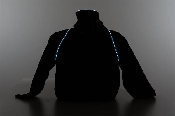 Back EL Wire Hoodie Low Light