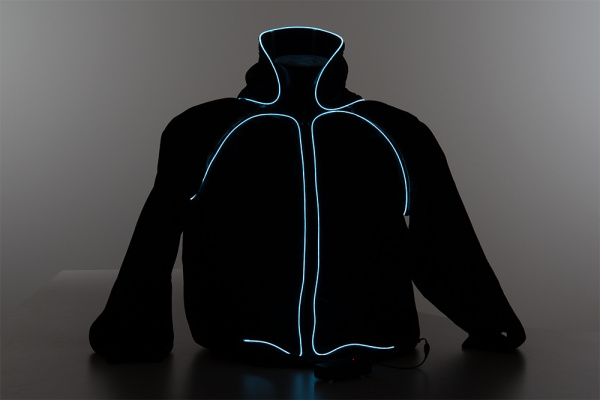 Front EL Wire Hoodie Low Light