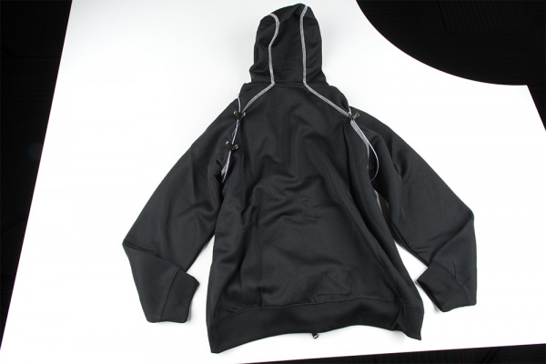 Back of EL Hoodie with Binder Clips
