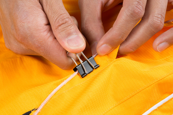 Binder Clip Guiding EL Wire on Pants