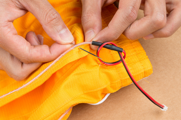Start Sewing EL Wire by the Pant's Left Pocket