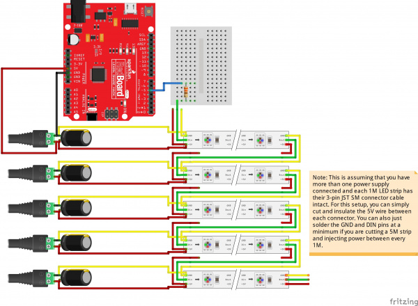 Daisy Chained LED Strip Powered with Multiple Power Supplies