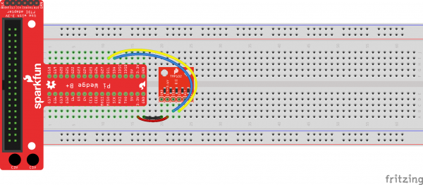 Fritzing diagram of using a Pi Wedge to connect to a TMP102 temperature sensor