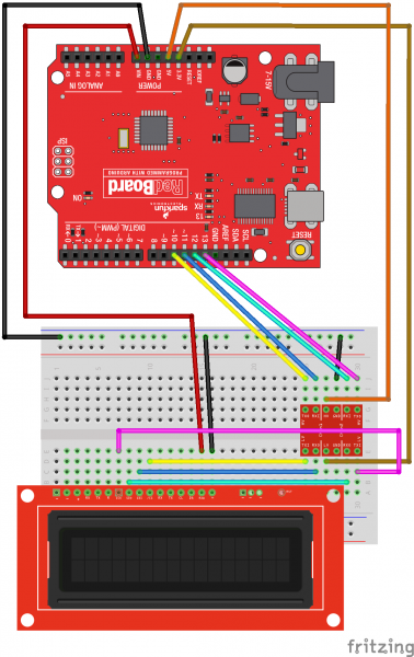 Fritzing diagram showing the wiring for SPI with a redboard, a logic level converter, and the SerLCD