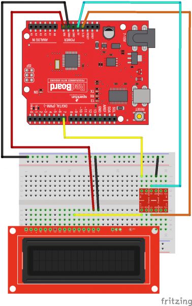 Fritzing diagram showing how to do basic wiring of Redboard, Logic Level Converter, and LCDscreen