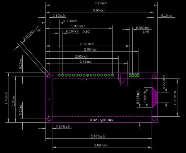 Dimensional drawing image of 16x2 qwiic serlcd