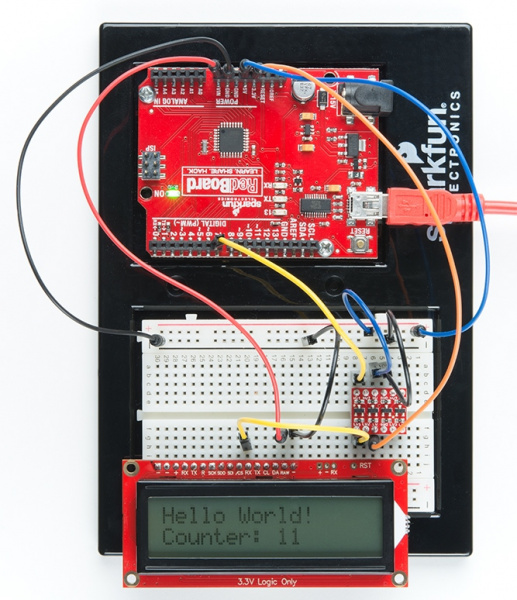 Hello World! Counter: 11 is displayed on LCD screen once code is uploaded to the redboard