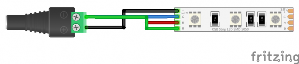 Fritzing Diagram for Adapter and LED Strip