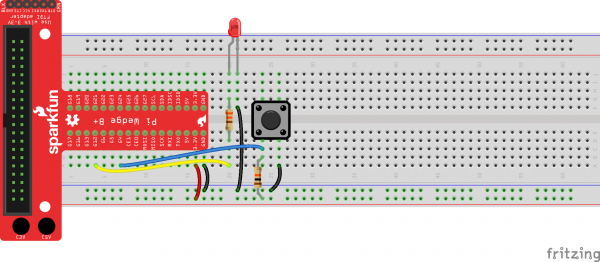 Pi Wedge Fritzing diagram to connect LED and button