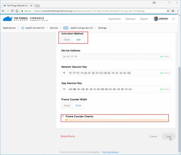 Modifying TTN device settings