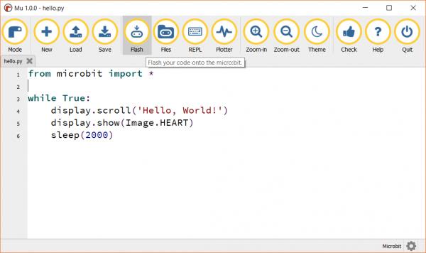 Flashing the micro:bit with code from the Mu editor