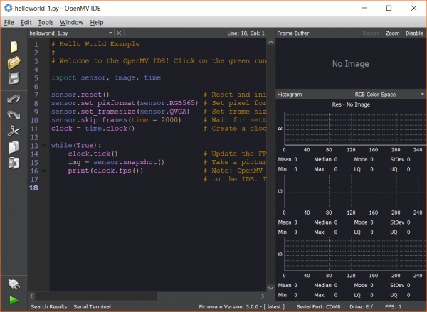 OpenMV IDE showing latest firmware version