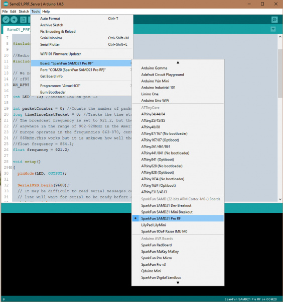 This is an image of the Tools Dropdown Menu in the Arduino IDE where the Board and Port have been set to the SAMD21 Pro RF.