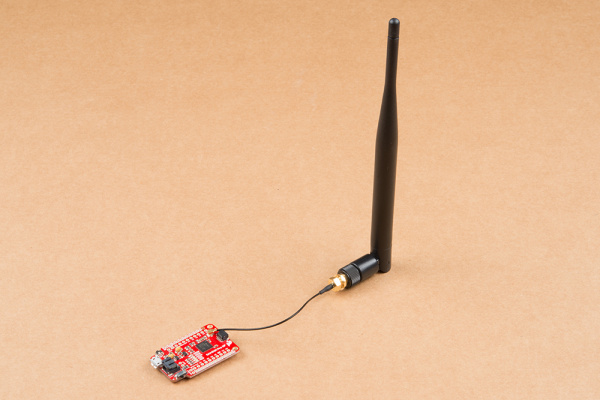 This is a picture of the SAMD21 Pro RF witha Antenna plugged into the onboard u.FL connector.