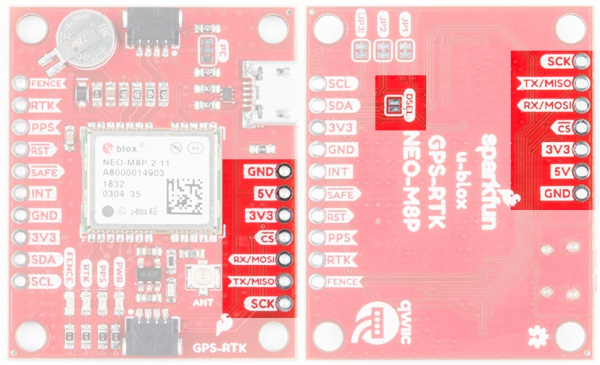 SPI ports on the SparkFun NEO-M8P-2