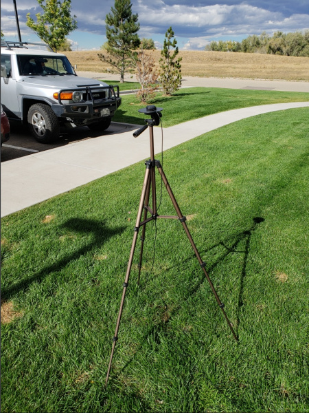 Camera Tripod with GNSS Antenna on Ground Plate