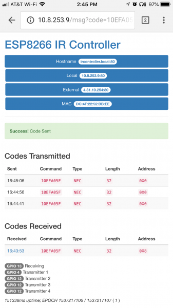 IR controller web page example