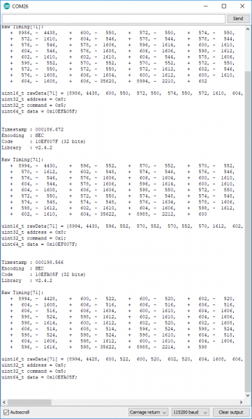 Example recv dump output from serial monitor