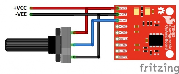 Fritzing diagram of potentiometer on the reference voltage
