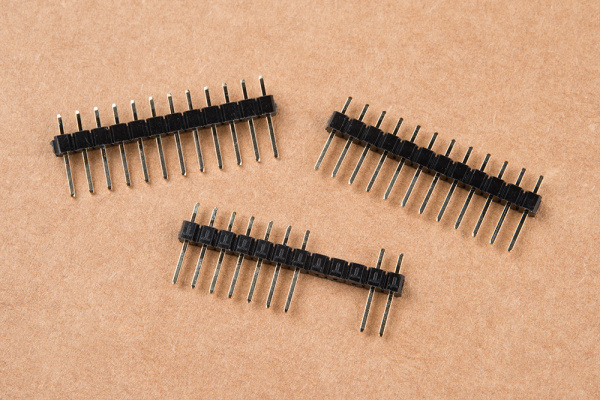 12-pin male headers to be soldered to the board