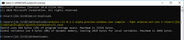 Arduino CLI compile command via CMD
