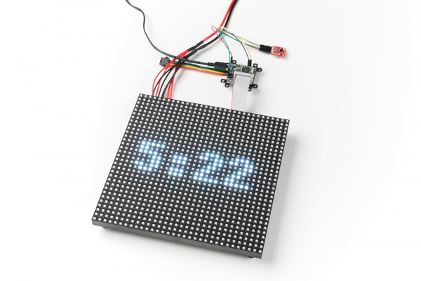 DS1307 RTC Clock Displayed on the 32x32 RGB LED Matrix Panel Using the Teensy and SmartLED Shield