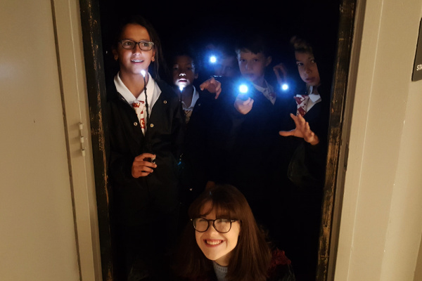 3D Printed Illuminated Wants with LED Turned On Backstage with Harry Potter Costumes and Custom Gryffindor Clip-On Ties