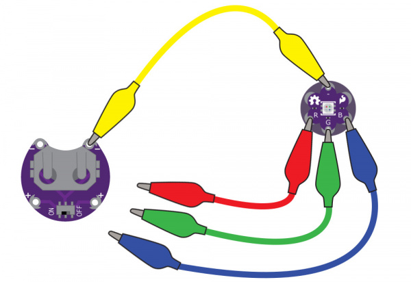 LilyPad RGB LED connected to three alligator clips and a LilyPad Battery Holder