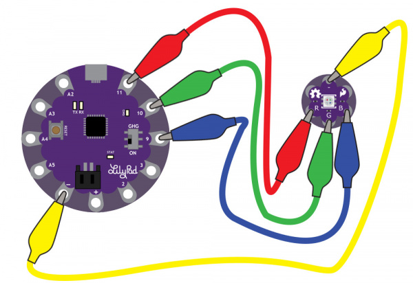 Attaching the RGB LED to a LilyPad Arduino USB