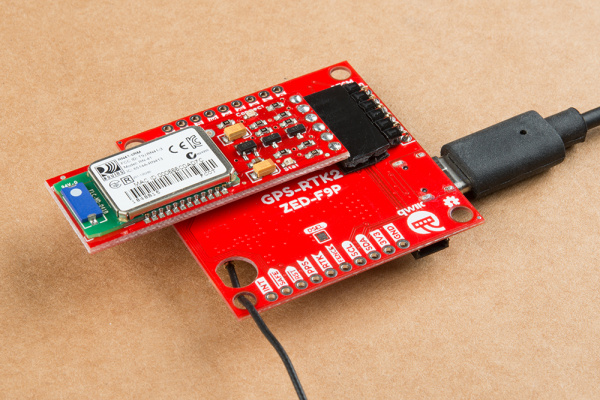 GPS-RTK2 with Bluetooth Mate attached