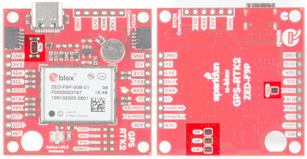 User jumpers on the SparkFun RTK2