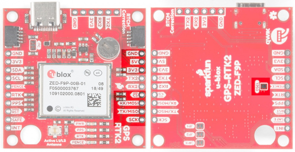 The SPI pins highlighted on the SparkFun RTK2