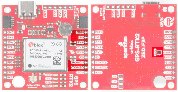 Serial pins on SparkFun ZED-F9P highlighted