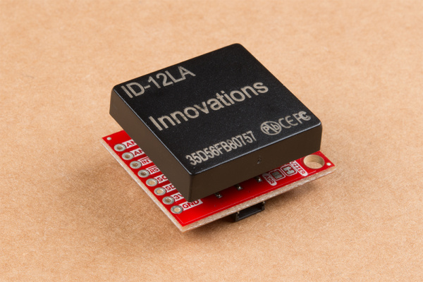 Pictured is the product with the RFID module plugged into its headers.