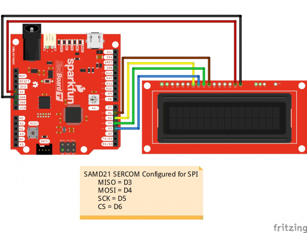 Circuit Diagram SAMD21 SERCOM SPI to SerLCD