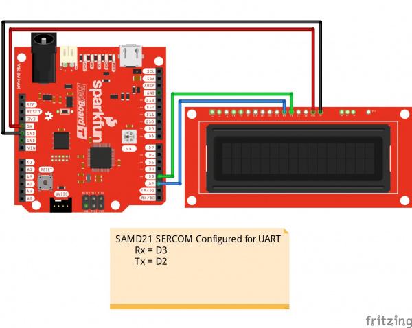 Circuit Diagram SAMD21 SERCOM UART to SerLCD