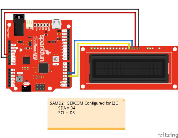 Circuit Diagram SAMD21 SERCOM I2C to SerLCD