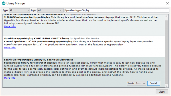 Installing the SparkFun HyperDisplay Library via library manager