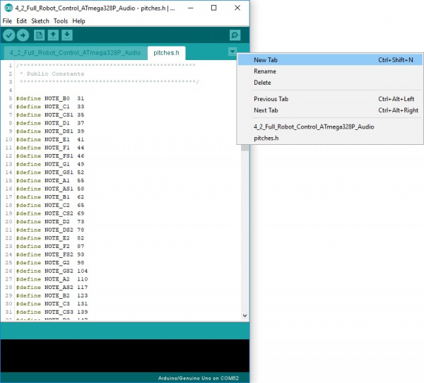 Creating a Tabbed file in Arduino IDE