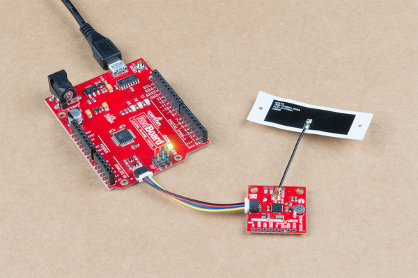 ZOE-M8Q connected to an Arduino and GPS Antenna