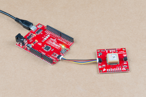 GPS module hooked up to RedBoard