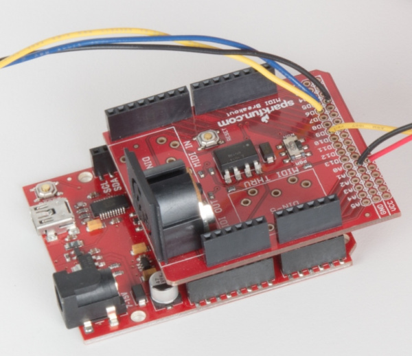 RedBoard with shield connected to servo and button