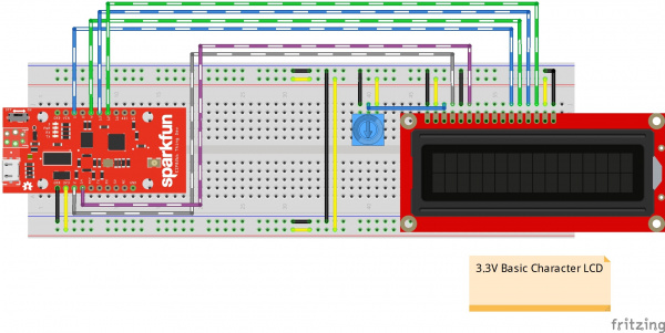 ESP8266 Thing Dev Connected to 3.3V Basic Character LCD