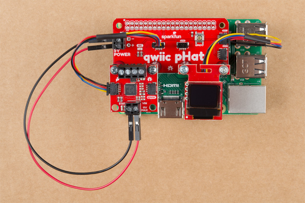 qwiic Motor Driver and microOLED Mounted on the raspbery Pi's pHAT v2.0