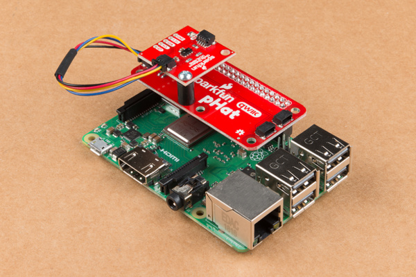 Qwiic Distance Sensor Mounted on the Raspberry Pi's pHAt v1.0t