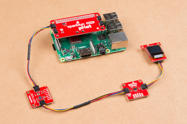 Qwiic Kit Sensors Connected to a Pi via the Qwiic pHat