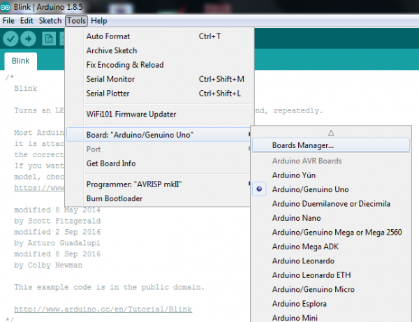 Arduino Boards Manager Dialog, under Tools