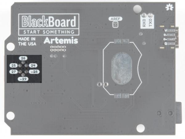 Bus master pads on rear of BlackBoard Artemis