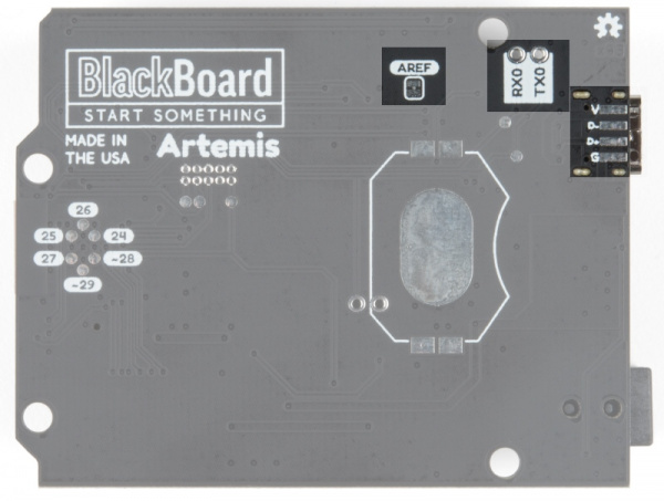 Read of BlackBoard Artemis showing various SMD pads and jumpers