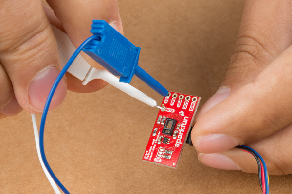 IC Hooks Connected to Pulse Oximeter and Heart Rate Monitor Breakout Board